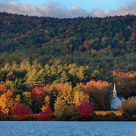 Eaton white church in fall colors by Jeff Folger