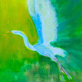 Egret Lift Off by Frank Bright