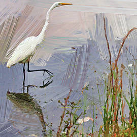 Egret oil wall painting  by Geraldine Scull