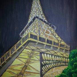 Eiffel Tower Dark Background  by Irving Starr