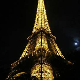 Eiffel Tower Moon Paris France by John Shiron