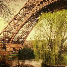 Eiffel Tower Paris Footprint Vintage by Joan Carroll