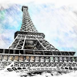 Eiffel Tower To The Sky With Watercolor Background by Toni Abdnour