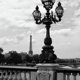 Carol Groenen - Eiffel Tower with Ornate Lamp - Black and White