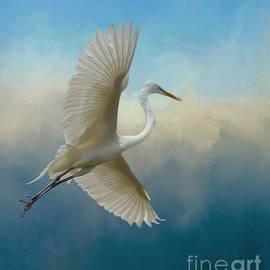 Elegant Egret Flight by Myrna Bradshaw