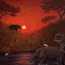 Elephants at the Waterhole by Philip Harvey