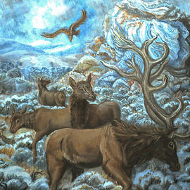 Elk Family in Winter with Eagle by Dawn Senior-Trask