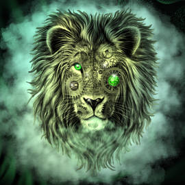 Emerald Steampunk Lion King by Artful Oasis