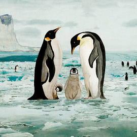 Emperor Penguin Family by Angeles M Pomata