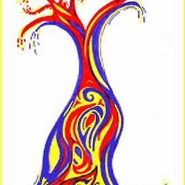 Julia Woodman - Energy Tree, Red, Blue, Yellow
