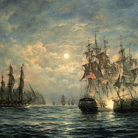 Engagement Between The 'bonhomme Richard' And The ' Serapis' Off Flamborough Head by Richard Willis