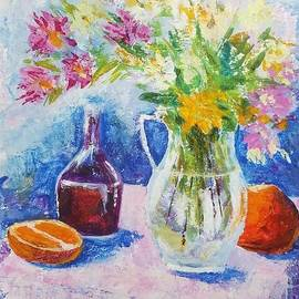 Enjoyable still life with oranges and the jug with flowers by Olga Malamud-Pavlovich