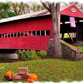 Michael Mazaika - Pennsylvania Country Roads - Heikes Covered Bridge Over Bermudian Creek - Adams County Autumn