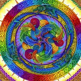 Psychedelic Dragons Rainbow Mandala by Rebecca Wang