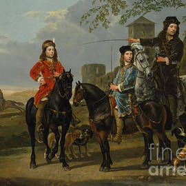 Aelbert Cuyp - Equestrian Portrait of Cornelis and Michiel Pompe van Meerdervoort with their Tutor and Coachman, St
