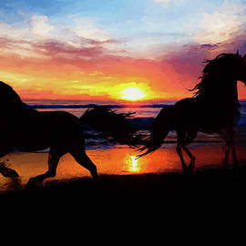Ericamaxine Price - Equine Exercise on the Beach - Painting