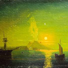 Yuri Hope - Eruption of Mount Vesuvius in the Bay of Naples. Copy from paintings by Aivazovsky