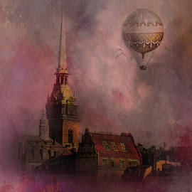 Stockholm church with flying balloon