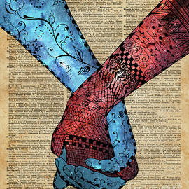 Eternal Love,Holding Hands,Space Design,Dictionary Art,Zentagle by Anna W