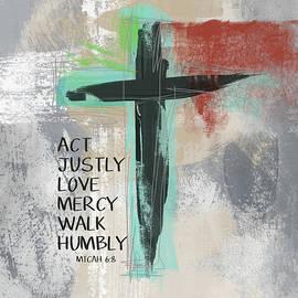 Expressionist Cross Love Mercy- Art by Linda Woods - Linda Woods