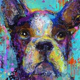 Expressive Boston Terrier Painting By