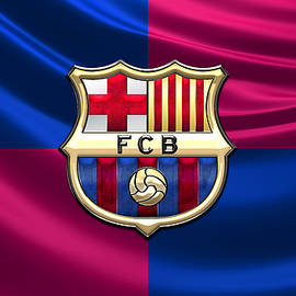 F. C. Barcelona - 3D Badge over Flag