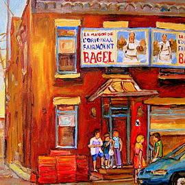 Fairmount Bagel Montreal Street Scene Painting by Carole Spandau