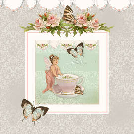 Fairy Teacups - Flutterbye Butterflies And English Rose Damask by Audrey Jeanne Roberts