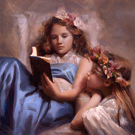 Karen Whitworth - Fairytales and Lace - Portrait of Girls Reading a Book