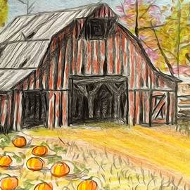 Fall barn pumpkin patch  by Larry E Lamb