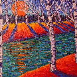 Ana Maria Edulescu - Fall Birches At Sunrise Contemporary Impressionist Palette Knife Oil Painting By Ana Maria Edulescu