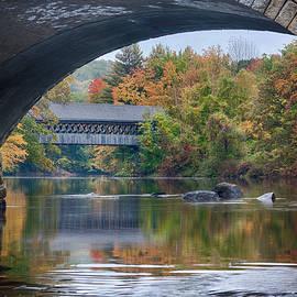 Jeff Folger - fall colors over Henniker covered bridge