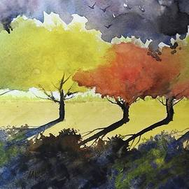Fall Trees Watercolor by David K Myers
