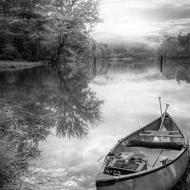 Fallen Leaves at Dawn in Black and White by Debra and Dave Vanderlaan