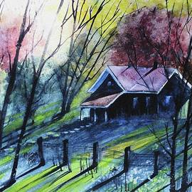 David K Myers - Fall Cottage, Watercolor