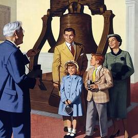 Studio Grafiikka - Family photograph by the Liberty Bell in Philadelphia - Vintage Illustrated Poster