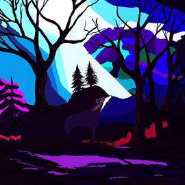 Fantasy Forest Howling Wolf by Karen Harding