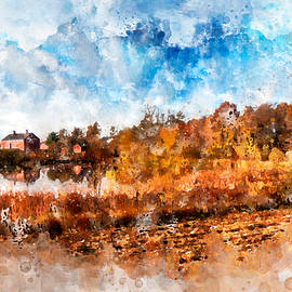 Farm Fall Colors Watercolor by Michael Colgate