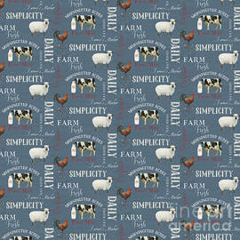 Farm Fresh Typography Country Cow Sheep Rooster Milk Blue Pattern by Audrey Jeanne Roberts