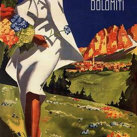 Fashionable woman in a white dress in Cortina Italy - Vintage Travel Poster - Landscape Illustration - Studio Grafiikka