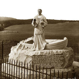 Father Junipero  Serra, Granite monument. Monterey Presidio 1891 by California Views Archives Mr Pat Hathaway Archives