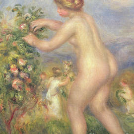 Female nude picking flowers - Pierre Auguste Renoir