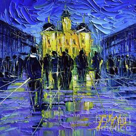 Mona Edulesco - FESTIVAL OF LIGHTS IN LYON FRANCE - miniature palette knife oil painting