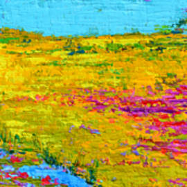 Field Of Flowers, Waterlily Pads Pond Modern Abstract Landscape Painting - Palette Knife Work by Patricia Awapara