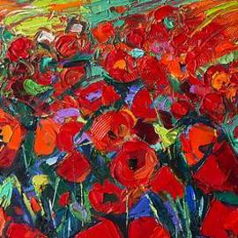 Mona Edulesco - FIELD OF POPPIES modern impressionism palette knife oil painting by Mona Edulesco