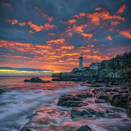 Rick Berk - Fiery Skies Over Portland Head Light