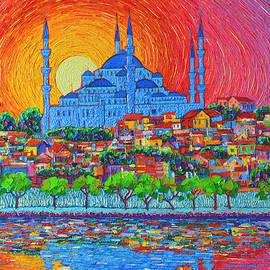 Fiery Sunset Over Blue Mosque Hagia Sophia In Istanbul Turkey by Ana Maria Edulescu