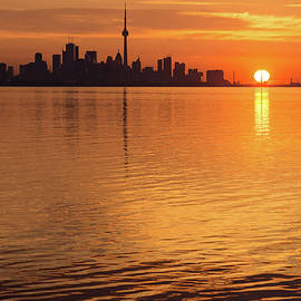 Fiery Toronto Skyline with the Sun Sliced in Half by Georgia Mizuleva