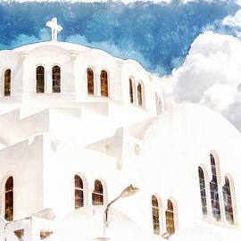 Antony McAulay - Fira Orthodox Metropolitan cathedral digital watercolor painting