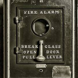 Paul Ward - Fireman-Fire Alarm Box Break Glass in black and white